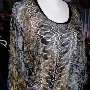 KAREN KANE Sheer Dolman Sleeve Blouse XL